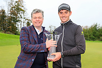 "Connor O'Rourke (IRL) leading irish player with the ""Christie O'Connor "" trophy after the final round of the Monaghan Irish Challenge, Concra Wood, Monaghan, Ireland. 7-10-2018.<br /> Picture Fran Caffrey / Golffile.ie<br /> <br /> All photo usage must carry mandatory copyright credit (© Golffile 