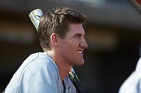 Joe Gellenbeck (19) of the Xavier Musketeers stands in the dugout prior to the game against the Penn State Nittany Lions at Coleman Field at the USA Baseball National Training Center on February 25, 2017 in Cary, North Carolina. The Musketeers defeated the Nittany Lions 10-4 in game one of a double header. (Brian Westerholt/Four Seam Images)