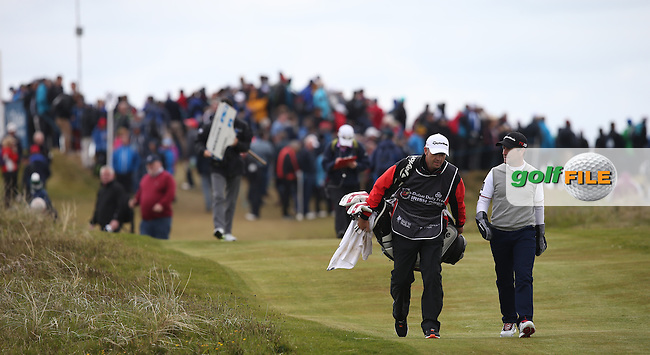 Heading from the 8th tee Steve Webster (ENG) and caddie during Round Three of the 2015 Dubai Duty Free Irish Open Hosted by The Rory Foundation at Royal County Down Golf Club, Newcastle County Down, Northern Ireland. 30/05/2015. Picture David Lloyd | www.golffile.ie