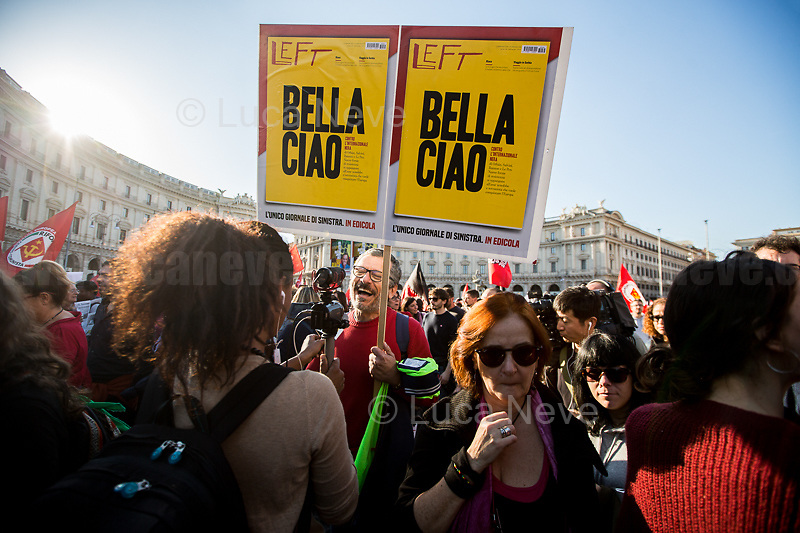 """Rome, 10/11/2018. Today, the National demonstration """"Uniti Contro Il Governo, Il Razzismo E Il Decreto Salvini"""" (United against the Government, racism and the Decree Salvini) saw tens of thousands of people (100,000+ people for the organisers) marching peacefully from Piazza della Repubblica (Repubblica's Square) to Piazza San Giovanni in Laterano (San Giovanni's Square). The protest was called to fight the Decree made by the Interior Minister Matteo Salvini (League - Lega) accused by protesters & activists to be racist and restrictive of civil liberties. Moreover, the demo was called in support and solidarity with migrants, refugees, and with Domenico """"Mimmo"""" Lucano, Mayor of Riace (see my stories here: https://bit.ly/2Dw5yiK & https://bit.ly/2yhDryV) and to make heard the voices of the people who have paid the crisis with the rise of exploitment, discriminations, omofobia, evictions linked to the endless 'housing crisis'. <br /> <br /> For more info about Event & Organisers click here: https://www.facebook.com/events/939181556285072/ & https://www.facebook.com/indivisibili10novembre/"""