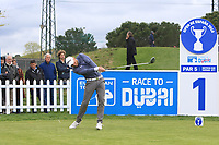 Maximilian Kieffer (GER) on the 1st tee during Round 1 of the Open de Espana 2018 at Centro Nacional de Golf on Thursday 12th April 2018.<br /> Picture:  Thos Caffrey / www.golffile.ie<br /> <br /> All photo usage must carry mandatory copyright credit (&copy; Golffile | Thos Caffrey)