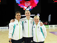 15.09.2018 Umpires during the Australia v South Africa netball test match at Spark Arena in Auckland. Mandatory Photo Credit ©Michael Bradley.