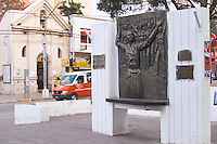 Monument on the main street commemorating homage to Eva Peron Neuquen, Patagonia, Argentina, South America