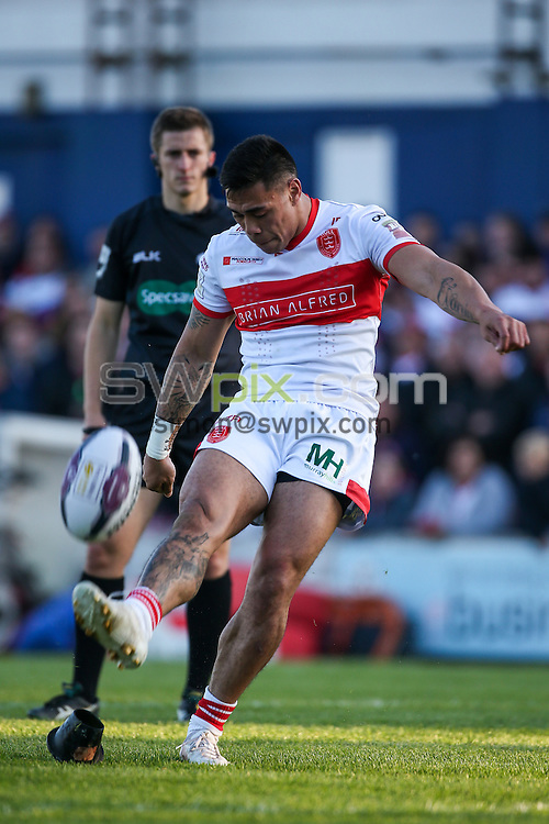 Picture by Alex Whitehead/SWpix.com - 02/06/2016 - Rugby League - First Utility Super League - Wakefield Trinity Wildcats v Hull KR - Rapid Solicitors Stadium, Wakefield, England - Hull KR's Ken Sio kicks for goal.