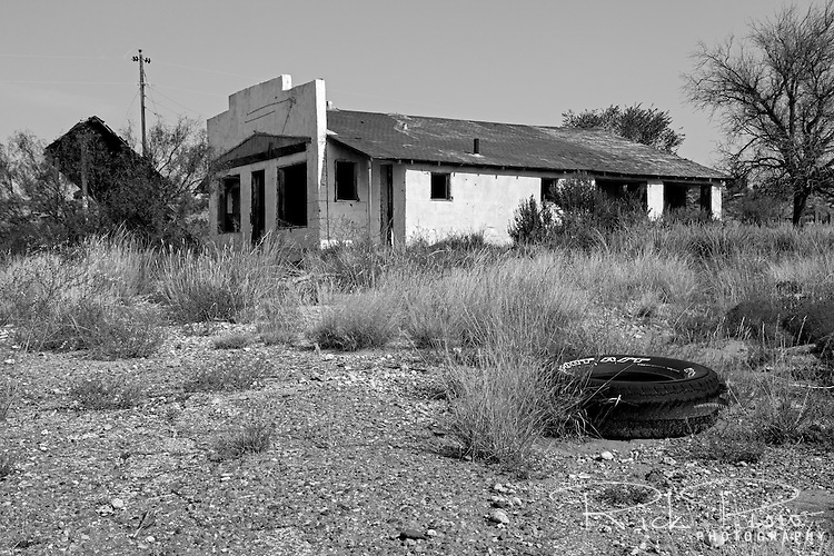 An abandoned gas station and resturaunt sits along a forgotten stretch of Route 66 west of San Jon, New Mexico.