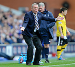 Ally McCoist raging after Fran Sandaza is taken down and Fraser Aird denied a goal