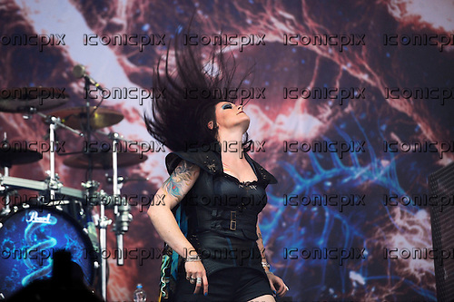 NIGHTWISH - vocalist Floor Jansen - performing live on Day Three on the Lemmy Stage at the Download Festival at Donington Park UK - 12 Jun 2016.  Photo credit: ZAine Lews/IconicPIxi