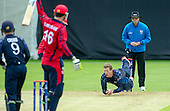 ICC World T20 Qualifier (Warm up match) - Scotland V Jersey at Heriots CC, Edinburgh - Scotland bowler Michael Leask looks to take a smart caught and bowled but the ball had grounded - Leask had figures of 3 for 10 off 2 — credit @ICC/Donald MacLeod - 06.7.15 - 07702 319 738 -clanmacleod@btinternet.com - www.donald-macleod.com