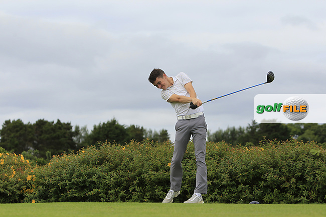 Jason Davis (Carton House) on the 18th tee during R1 of the 2016 Connacht U18 Boys Open, played at Galway Golf Club, Galway, Galway, Ireland. 05/07/2016. <br /> Picture: Thos Caffrey | Golffile<br /> <br /> All photos usage must carry mandatory copyright credit   (&copy; Golffile | Thos Caffrey)