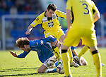 St Johnstone v St Mirren....21.03.15<br /> Murray Davidson is fouled by John McGinn<br /> Picture by Graeme Hart.<br /> Copyright Perthshire Picture Agency<br /> Tel: 01738 623350  Mobile: 07990 594431