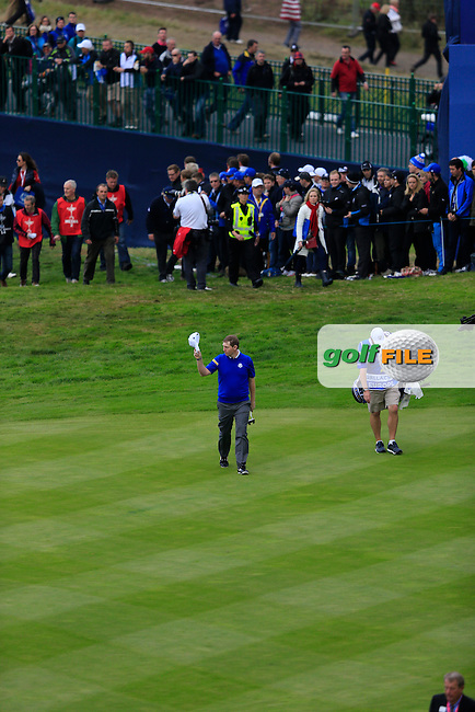 Stephen Gallacher (EUR) on the 16th during the Sunday Singles Matches at the 2014 Ryder Cup at Gleneagles. The 40th Ryder Cup is being played over the PGA Centenary Course at The Gleneagles Hotel, Perthshire from 26th to 28th September 2014.<br /> Picture:  Thos Caffrey / www.golffile.ie