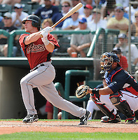 15 March 2009: Lou Santangelo of the Houston Astros hits during a game against the Atlanta Braves at the Braves' Spring Training camp at Disney's Wide World of Sports in Lake Buena Vista, Fla. Photo by:  Tom Priddy/Four Seam Images