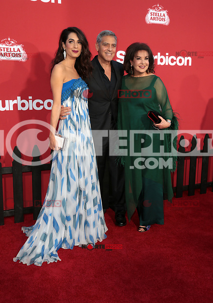 WESTWWOD, CA - October 22: George Clooney, Amal Clooney, Baria Alamuddin, At The Premiere Of Paramount Pictures' 'Suburbicon' At the Village Theatre California on October 22, 2017. Photo Credit: Faye Sadou /Media Punch /NortePhoto.com
