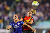 Orlando, Florida - Sunday, May 14, 2016: Orlando Pride forward Josee Belanger (9) and Western New York Flash forward Lynn Williams (9) battle for a ball during a National Women's Soccer League match between Orlando Pride and New York Flash at Camping World Stadium.