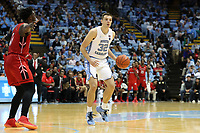 CHAPEL HILL, NC - NOVEMBER 01: Justin Pierce #32 of the University of North Carolina dribbles the ball during a game between Winston-Salem State University and University of North Carolina at Dean E. Smith Center on November 01, 2019 in Chapel Hill, North Carolina.