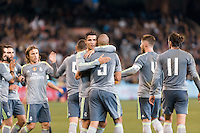 Melbourne, 24 July 2015 - Pepe of Real Madrid celebrates his goal with Cristiano Ronaldo in game three of the International Champions Cup match between Manchester City and Real Madrid at the Melbourne Cricket Ground, Australia. Real Madrid def City 4-1. (Photo Sydney Low / AsteriskImages.com)