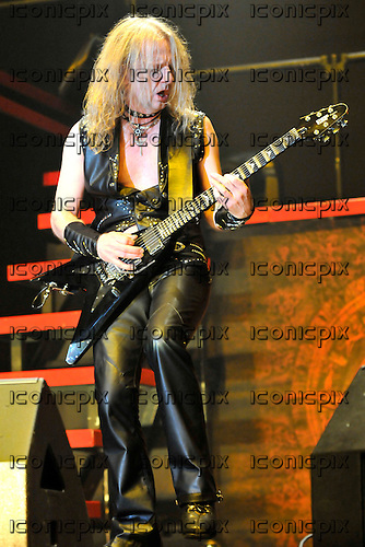 JUDAS PRIEST - guitarist KK Downing - performing live on the Priest Feast Tour of the UK at Wembley Arena in London  UK- 21 Feb 2009.  Photo credit: George Chin/IconicPix