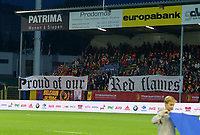 20170919 - LEUVEN , BELGIUM : Belgian fans and supporters pictured with their banners during the female soccer game between the Belgian Red Flames and Moldova , the first game in the qualificaton for the World Championship qualification round in group 6 for France 2019, Tuesday 19 th September 2017 at OHL Stadion Den Dreef in Leuven , Belgium. PHOTO SPORTPIX.BE | BELGA | DAVID CATRY