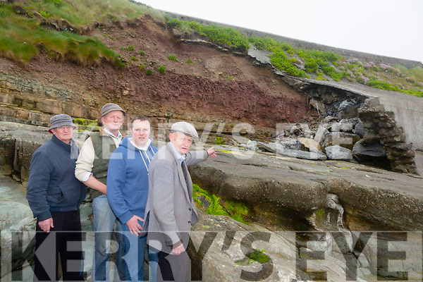 L-R Tom O'Leary,Thomas Harrington, Risteard O Fuarain and Dan O'Carroll are Concerned resident's of Ballyheigue's wall defence erosion on Ballyheigue beach.This is a high risk to the road and has been highlighted many times before of the possible dangers
