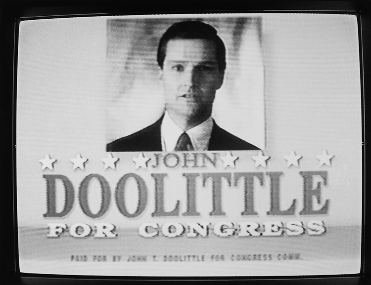 Rep. John Doolittle, R-Calif., broadcasted on television while campaigning. (Photo by Maureen Keating/CQ Roll Call via Getty Images)