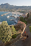 Corsica, France, Calvi, Yacht harbor from the Citadel, West Coast Corsica,  French coastal villages, Mediterranean Sea, Europe,.
