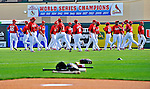 8 March 2012: Members of the St. Louis Cardinals warm up prior to a Spring Training game against the Boston Red Sox at Roger Dean Stadium in Jupiter, Florida. The Cardinals defeated the Red Sox 9-3 in Grapefruit League action. Mandatory Credit: Ed Wolfstein Photo