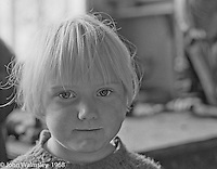 Portrait of young kid, Summerhill school, Leiston, Suffolk, UK. 1968.