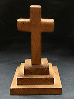 BNPS.co.uk (01202 558833)<br /> Pic: HAldridge/BNPS<br /> <br /> A poignant cross made from drift wood from the Titanic by a seaman tasked with recovering the bodies sold for £15,000.<br /> <br /> A walking cane with a lightbulb on one end of it that a Titanic survivor waved in a desperate attempt to attract a rescue ship has sold for £105,000.