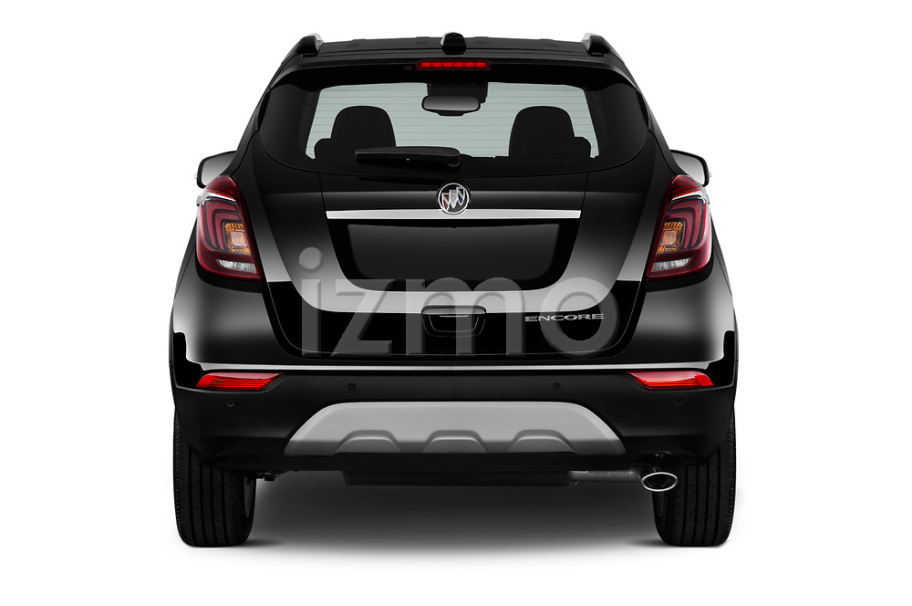 Straight rear view of 2019 Buick Encore Premium 5 Door Suv Rear View  stock images