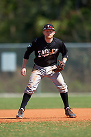 Edgewood Eagles Brodie Engel (3) during the second game of a doubleheader against the Plymouth State Panthers on April 17, 2016 at Lee County Player Development Complex in Fort Myers, Florida.  Plymouth State defeated Edgewood 16-3.  (Mike Janes/Four Seam Images)