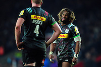 Marland Yarde of Harlequins speaks to team-mate George Merrick. Aviva Premiership match, between Harlequins and Gloucester Rugby on December 27, 2016 at Twickenham Stadium in London, England. Photo by: Patrick Khachfe / JMP