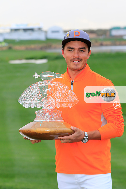 Rickie Fowler (USA) celebrates the win on 18th during the final round of the Waste Management Phoenix Open, TPC Scottsdale, Scottsdale, Arisona, USA. 03/02/2019.<br /> Picture Fran Caffrey / Golffile.ie<br /> <br /> All photo usage must carry mandatory copyright credit (&copy; Golffile | Fran Caffrey)