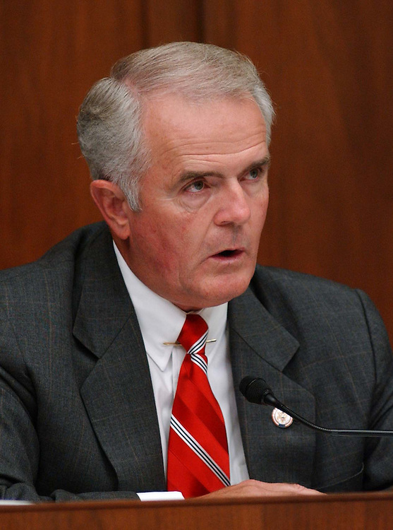 """9/29/04.INTELLIGENCE RESTRUCTURING--Jim Gibbons, R-Nev., during the House Select Intelligence markup of draft legislation, HR10, the """"9/11 Recommendations Implementation Act,"""" which would reorganize and restructure U.S. intelligence gathering and analysis operations..CONGRESSIONAL QUARTERLY PHOTO BY SCOTT J. FERRELL"""