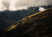 Dramatic light on ridge at Temple Basin, Arthur's Pass National Park, South Westland, South Island, New Zealand, NZ