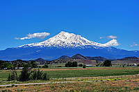 The landscape and view of Mount Shasta from the north side. Northern California.