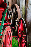 Colorful wagon wheels<br /> Pioneer Homestead at Oconoluftee Visitor Center<br /> Great Smoky Mountains N.P. NC