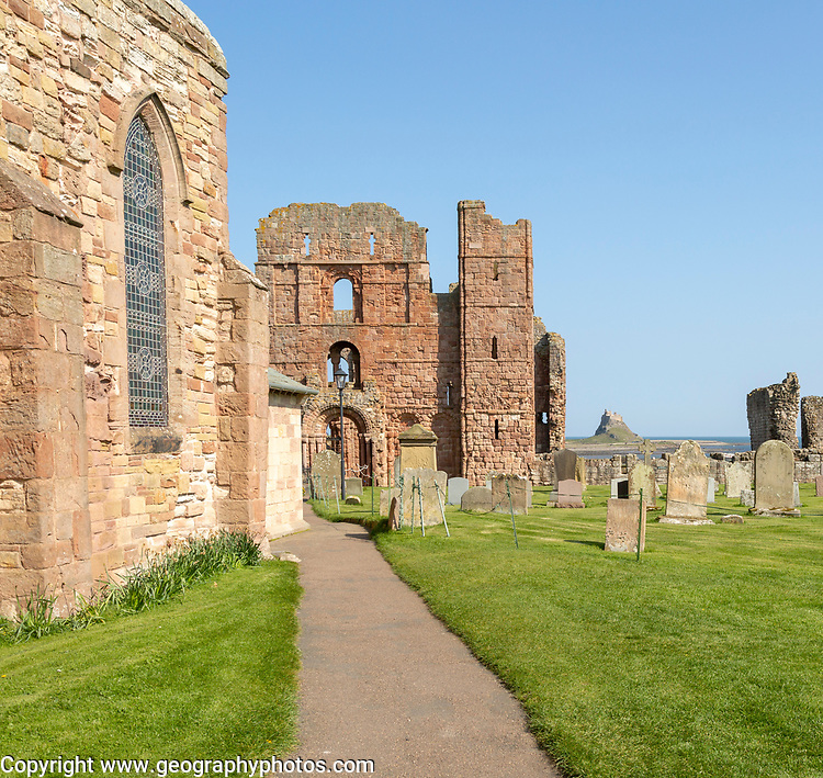 Ruins of Lindisfarne priory Holy Island, Northumberland, England, UK