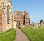 Ruins of Lindisfarne priory Holy Island, Northumberland, England, UK