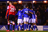Sam Gallagher of Birmingham celebrates with his team mates after he scores to make it 3-0 during the Sky Bet Championship match between Birmingham City and Sunderland at St Andrews, Birmingham, England on 30 January 2018. Photo by Bradley Collyer / PRiME Media Images.