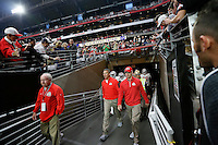 Ohio State Buckeyes head coach Urban Meyer takes the field prior to the Battlefrog Fiesta Bowl against the Notre Dame Fighting Irish at University of Phoenix Stadium in Glendale, Arizona on Jan. 1, 2016. (Adam Cairns / The Columbus Dispatch)