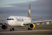 A Thomas Cook Airlines Airbus A321-211 Registration LY-VEC at Manchester Airport on 11.2.19 going to Tenerife South Airport, Spain.