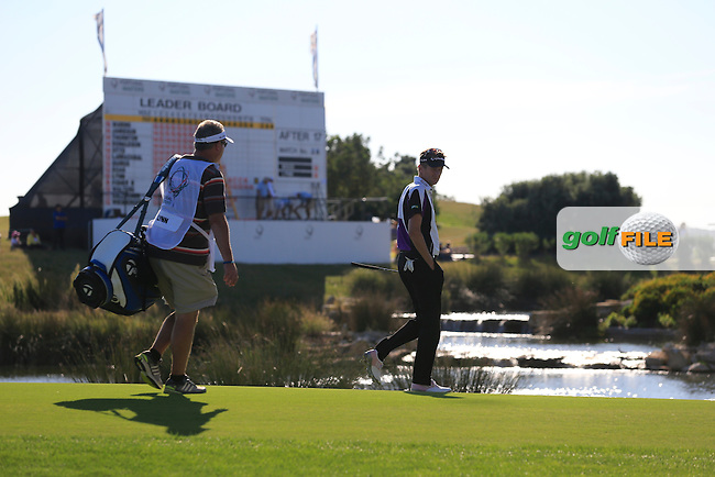 David Lynn (ENG) walks to the 18th green during Sunday's Final Round of the 2013 Portugal Masters held at the Oceanico Victoria Golf Club. 13th October 2013.<br /> Picture: Eoin Clarke/www.golffile.ie