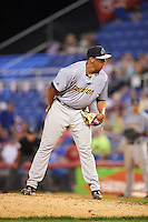 Trenton Thunder relief pitcher Tyler Jones (49) during a game against the Binghamton Mets on May 29, 2016 at NYSEG Stadium in Binghamton, New York.  Trenton defeated Binghamton 2-0.  (Mike Janes/Four Seam Images)