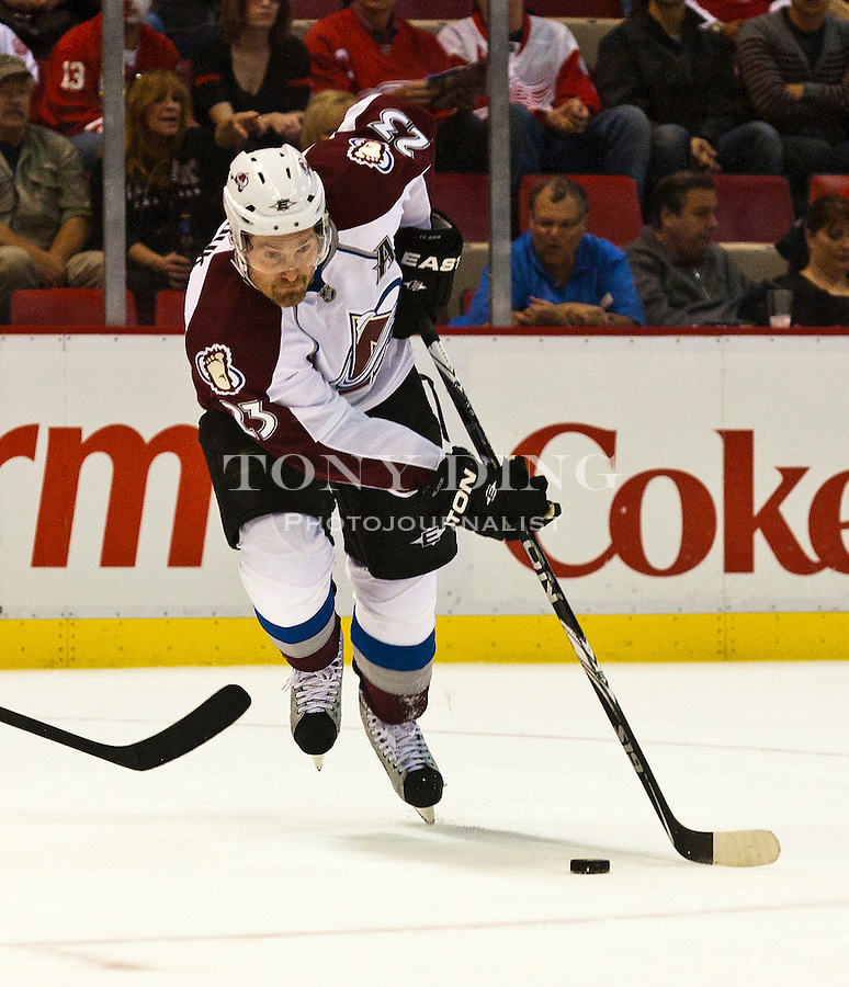 12 October 2010: Colorado Avalanche forward Milan Hejduk (23) dribbles the puck in the first period of the Colorado Avalanche at Detroit Red Wings NHL hockey game, at Joe Louis Arena, in Detroit, MI...***** Editorial Use Only *****