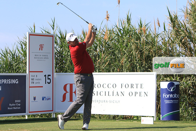 Thomas Bjorn (DEN) on the 15th tee during Round 1 of the Rocco Forte Sicilian Open 2018 on Thursday 10th May 2018.<br /> Picture:  Thos Caffrey / www.golffile.ie<br /> <br /> All photo usage must carry mandatory copyright credit (&copy; Golffile | Thos Caffrey)