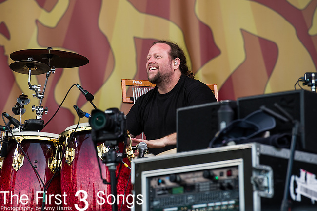 Jason Hann of The String Cheese Incident performs during the New Orleans Jazz & Heritage Festival in New Orleans, LA.