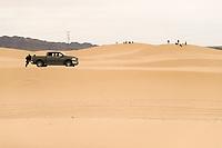 A pick up truck, Doge Ram Trucks in the sand dunes of the Samalayuca Desert, Chihuahua Mexico. 52 km south of Ciudad Juárez in the middle of the desert area known as the Médanos de Samalayuca. This tourist and travel destination belongs to the Municipality of Ciudad Juárez in northern Mexico.<br /> (Photo: Luis Gutierrez / NortePhoto)<br /> <br /> una camioneta pick up, Doge Ram Trucks en las  dunas de arena del desierto de Samalayuca, Chihuahua Mexico. A 52 km al sur de Ciudad Juárez en medio de la zona desértica conocida como los Médanos de Samalayuca. Este destino turístico y de viajes pertenece al Municipio de Ciudad Juárez en el norte de Mexico. <br /> (Foto: LuisGutierrez/NortePhoto)