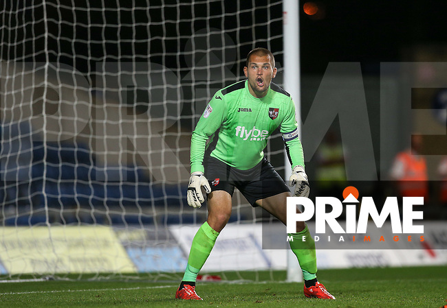 Goalkeeper Robert Olejnik of Exeter City gives instructions during the The Checkatrade Trophy match between Oxford United and Exeter City at the Kassam Stadium, Oxford, England on 30 August 2016. Photo by Andy Rowland / PRiME Media Images.