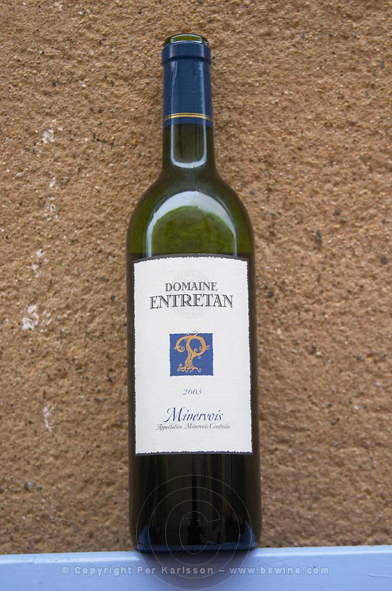 Domaine Entretan, J-C and D Plantade in Roubia. Minervois. Languedoc. France. Europe. Bottle.