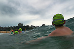 This iconic Island Challenge ocean swim<br /> is a  popular ocean swim which saw a record 1800 competitors taking the plunge,<br /> circumnavigating Wedding Cake Island and crossing the finish line after conquering the sometimes challenging ocean conditions.<br /> Sunday 28th November 2010.Photo: Steve Christo